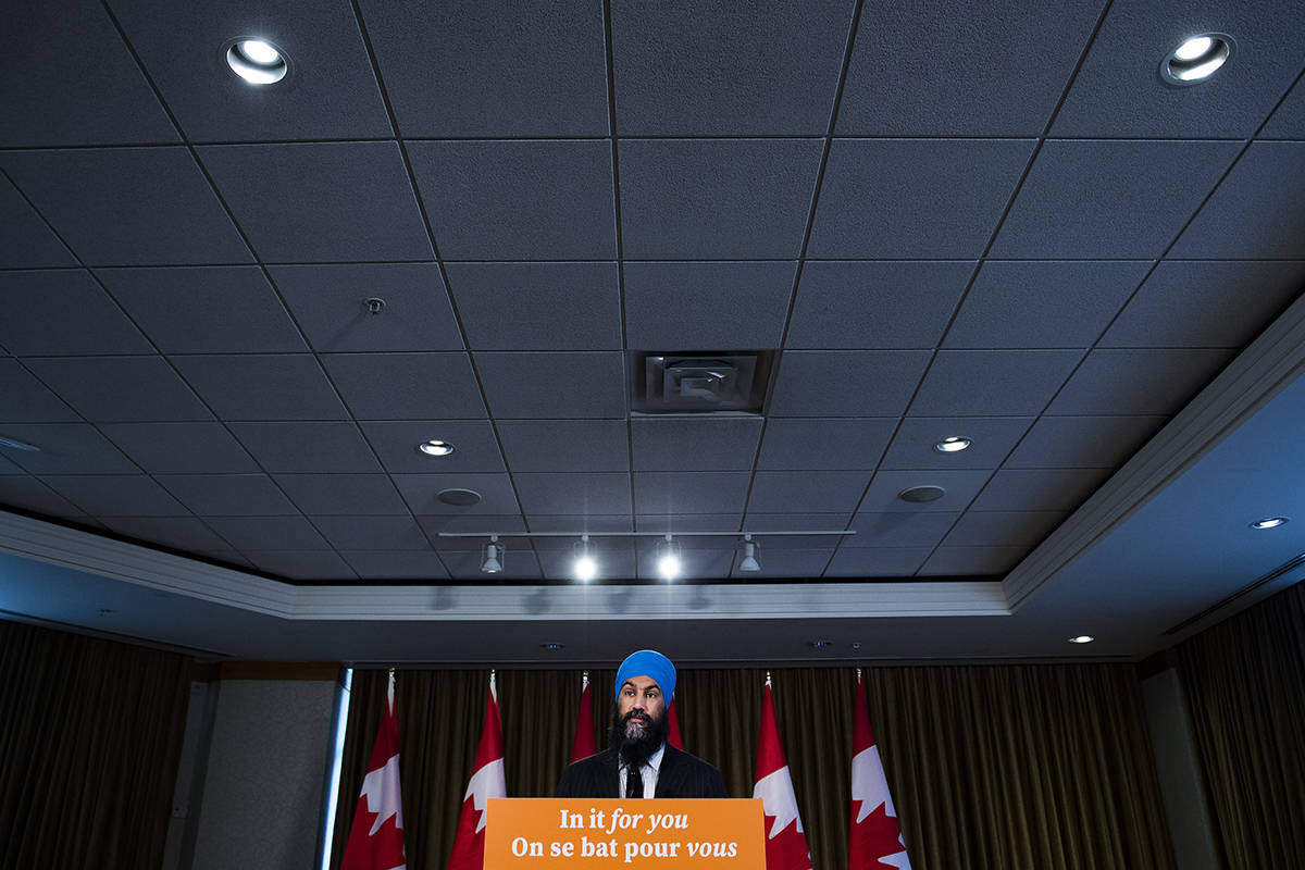 NDP Leader Jagmeet Singh speaks to the media after the Canadian federal election in Burnaby, B.C., on Tuesday, October 22, 2019. THE CANADIAN PRESS/Nathan Denette