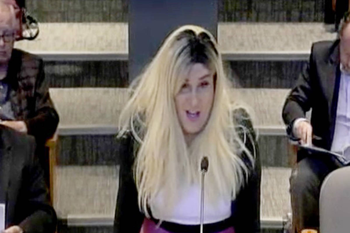Jessica Yaniv speaks at a Langley Township council meeting in the spring of 2019. (Screengrab)