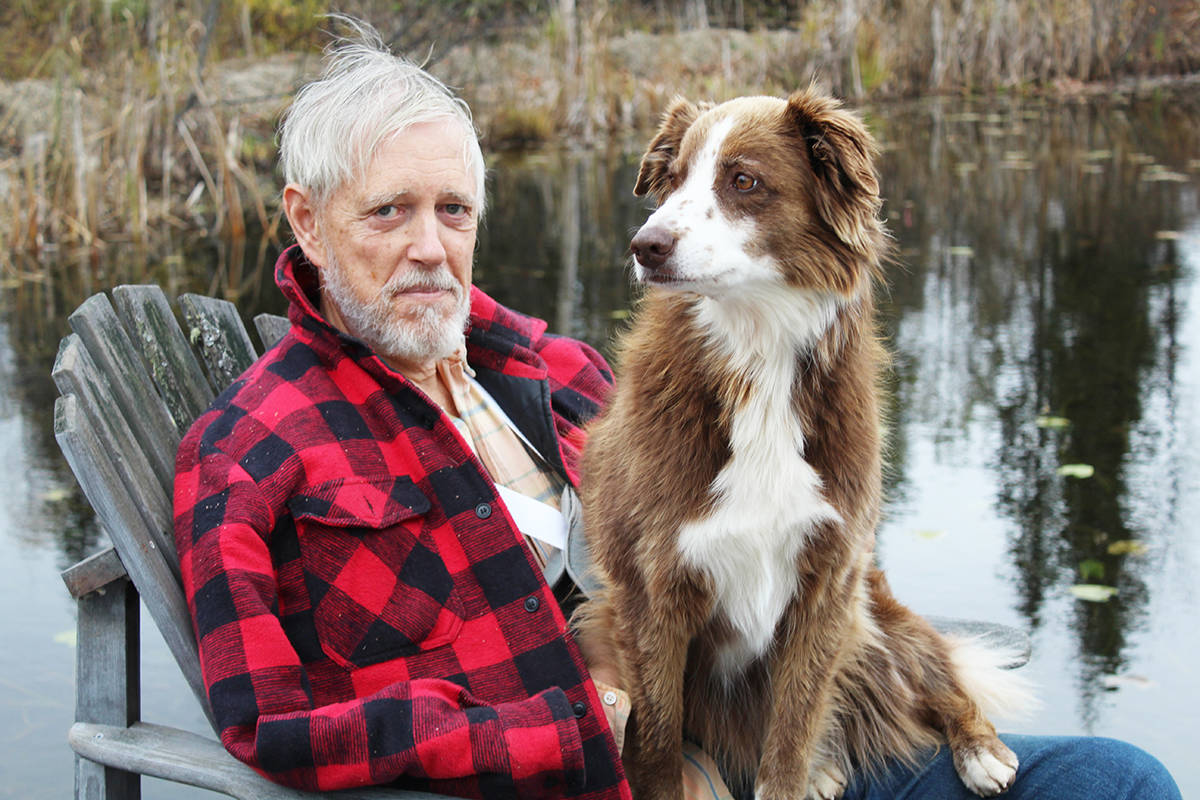 Trevor Goward, and his dog. (Jaime Polmateer/Clearwater Times)
