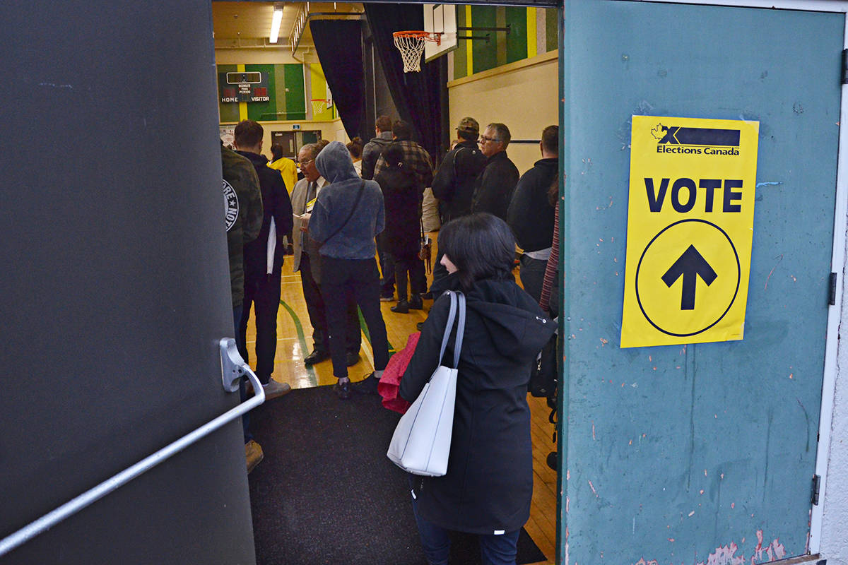 Busy day at the polling place at Langley Secondary on Monday. (Matthew Claxton/Langley Advance Times)