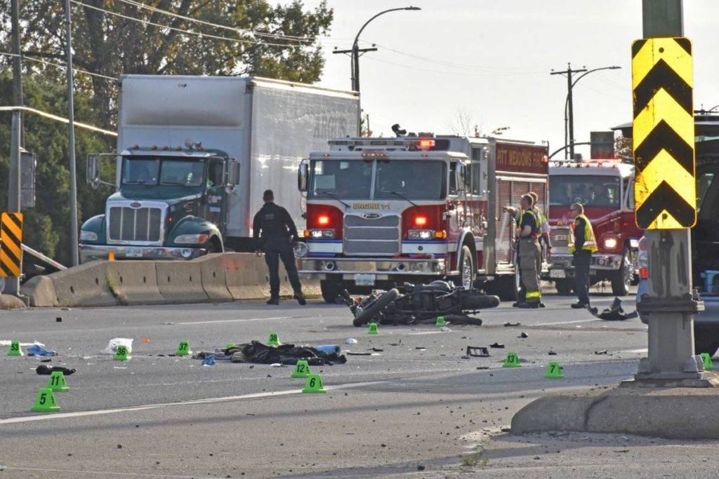 Motorcyclist was critically injured Wednesday morning in Pitt Meadows on Lougheed Highway. THE NEWS/files