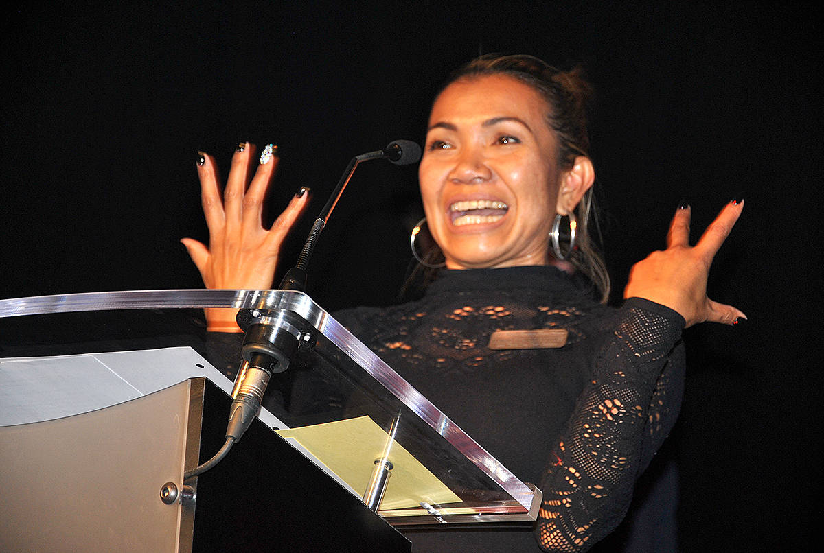 Parinya Lopston accepted an award on behalf of Ban Chok Dee Thai Cuisine during the Greater Langley Chamber of Commerce 23rd annual Business Excellence Awards at the Cascades Casino on Thursday, Oct. 24. (Roxanne Hooper/Langley Advance Times)