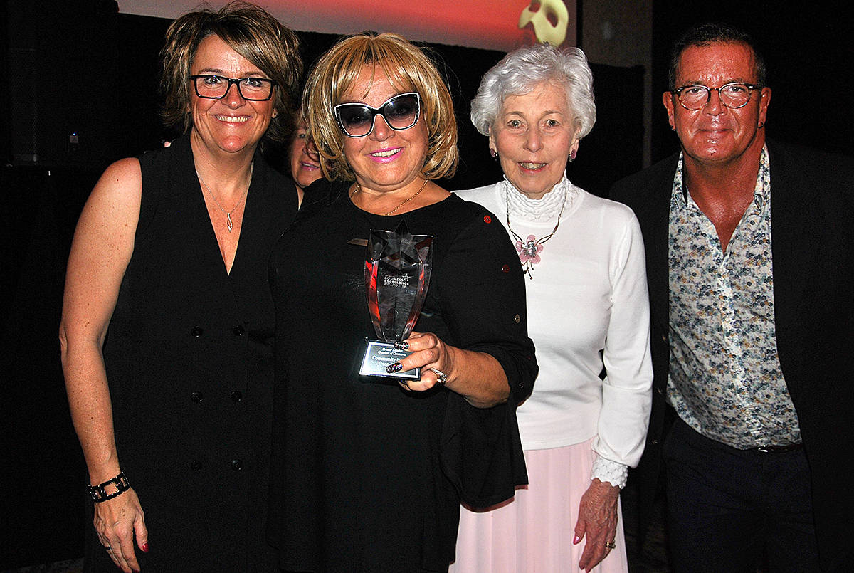 Kimz Angels founder Kim Snow accepted an award during the Greater Langley Chamber of Commerce 23rd annual Business Excellence Awards at the Cascades Casino on Thursday, Oct. 24. (Roxanne Hooper/Langley Advance Times)