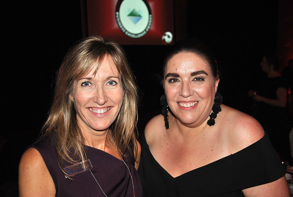 Greater Langley Chamber of Commerce CEO Colleen Clark (right) worked with staff and volunteers to coordinate all aspects of the 23rd annual Business Excellence Awards at the Cascades Casino on Thursday, Oct. 24. (Roxanne Hooper/Langley Advance Times)