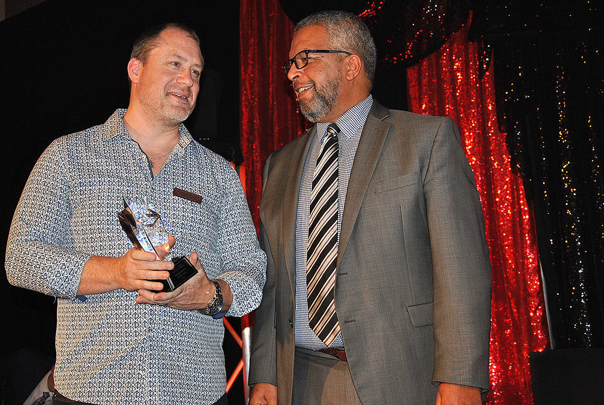 Daryl Berden of Ridgewater Homes Ltd. accepted an award during the Greater Langley Chamber of Commerce 23rd annual Business Excellence Awards at the Cascades Casino on Thursday, Oct. 24. (Roxanne Hooper/Langley Advance Times)