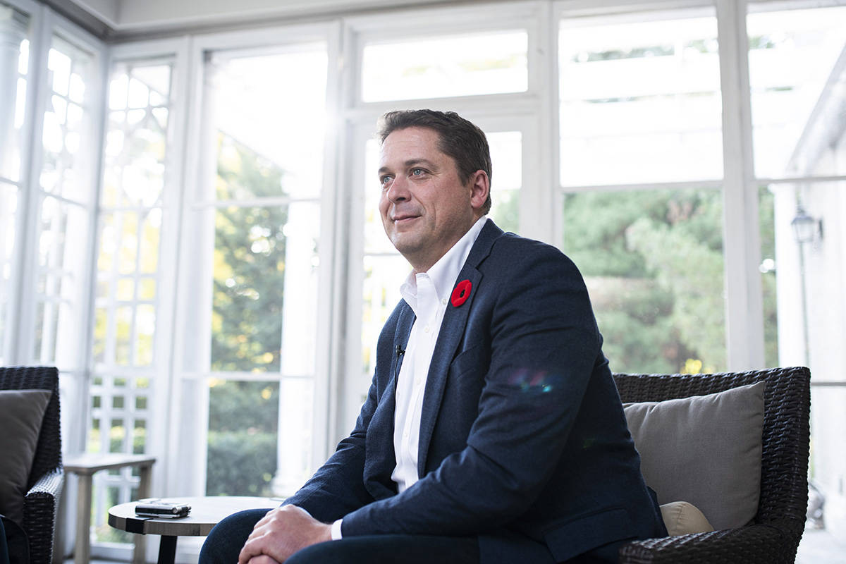 Conservative Leader Andrew Scheer participates in an interview reflecting on the 2019 Federal election, in Ottawa, on Thursday, Oct. 24, 2019. THE CANADIAN PRESS/Justin Tang