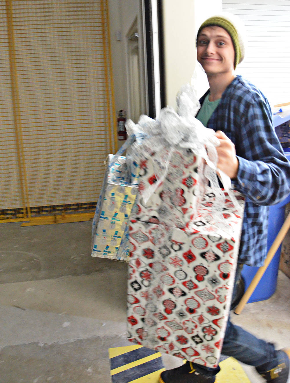 Brody Schale helped unload supplies for the Langley Christmas Bureau on Oct. 28. (Heather Colpitts/Langley Advance Times)