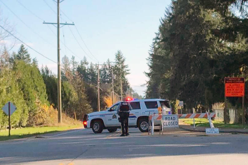 Police blocked off 56th Avenue east of 240th Street in Langley late Monday morning after officers 'swarmed' the area to pursue a fleeing SUV, according to one eyewitness. (Photo by Alison Birkhiem Linden)