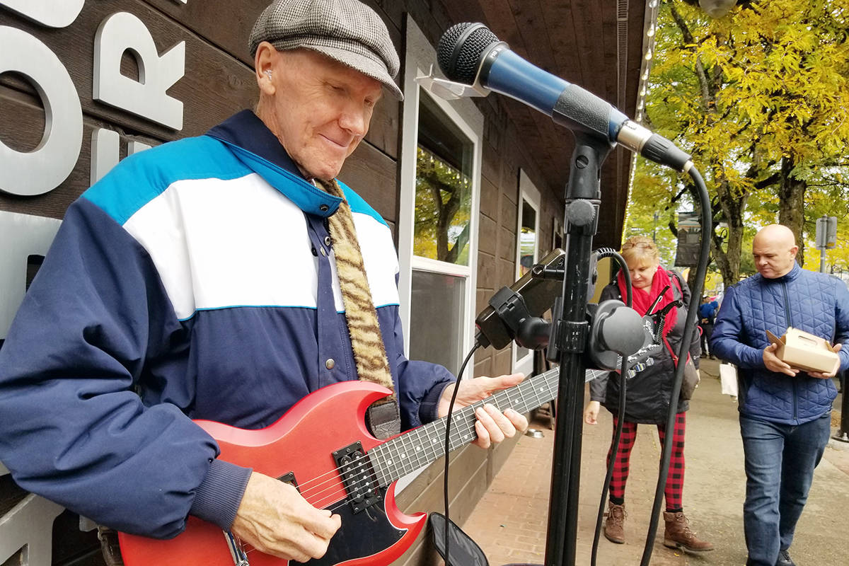 Murray Cameron, seen here playing in Fort Langley during the Oct. 12th Cranberry Festival, has been busking for 20 years. (Dan Ferguson/Langley Advance Times)