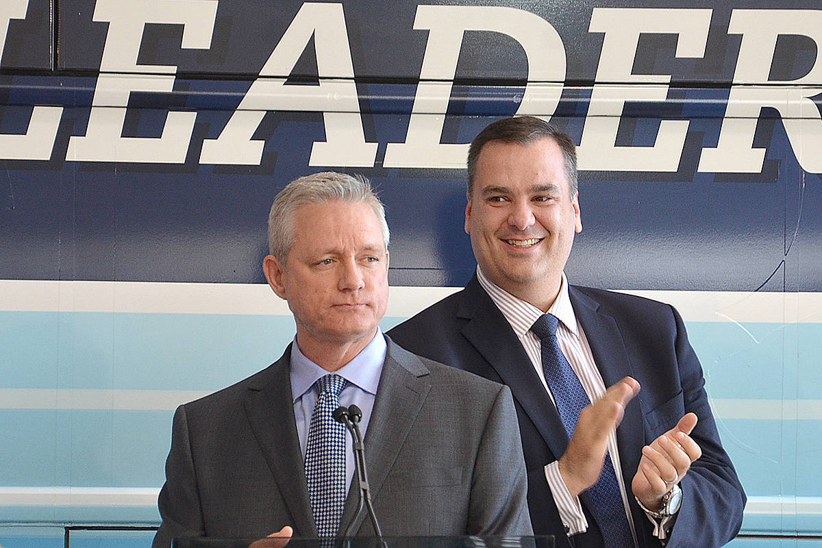 Dean Drysdale on the campaign trail during the 2015 federal election. (Langley Advance Times files)