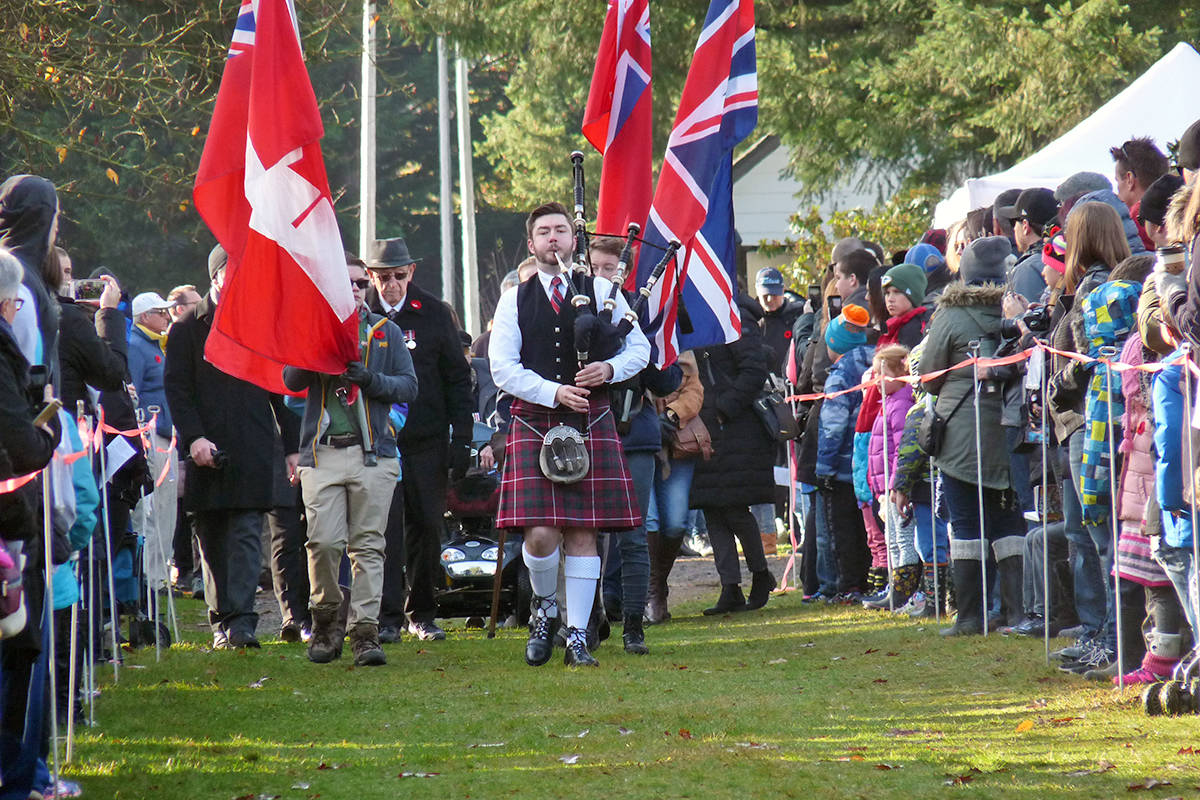 The colour party arrives at the head of the procession during the 2018 Remembrance Day service at Fort Langley. (Langley Advance Times files)