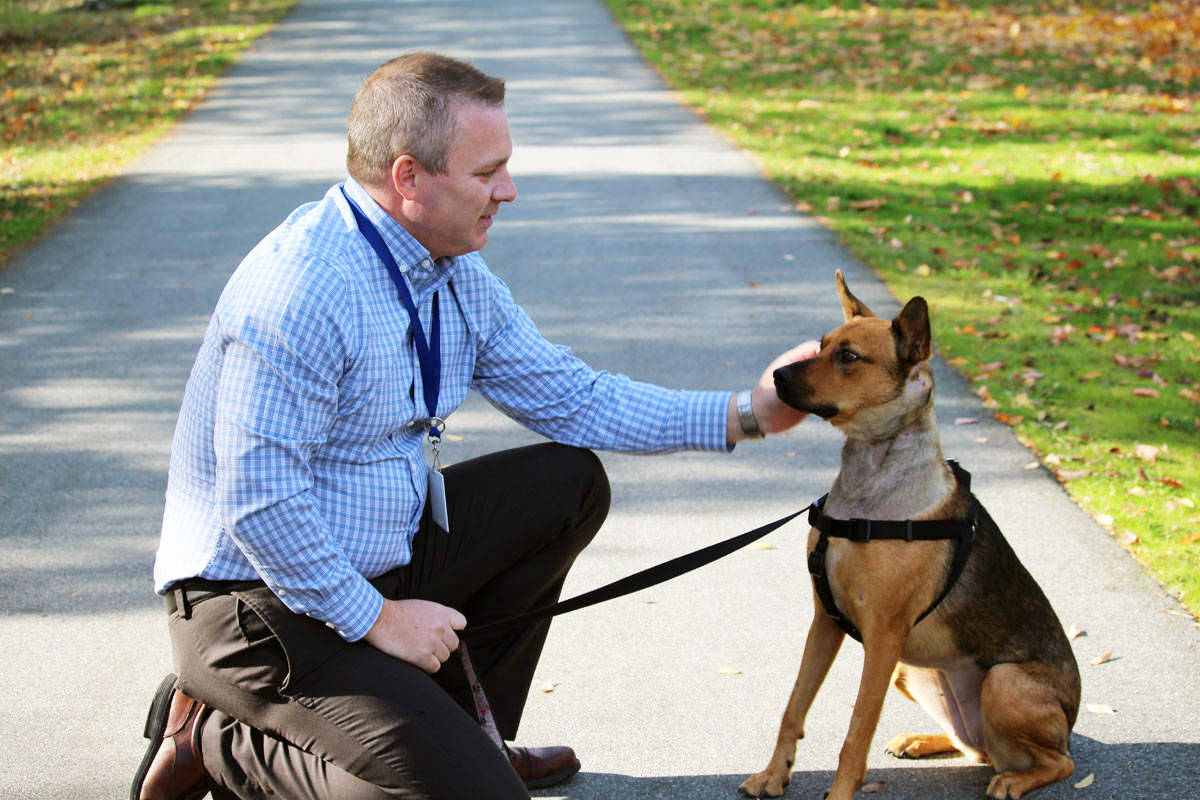 Hope, a dog that was taken into custody by the BC SPCA after a case of animal cruelty, now has a new home with Neil Roberts. Roberts is the hospital administrator at WAVES Veterinary Hospital in Langford. (Photo by Shalu Mehta/Victoria News)