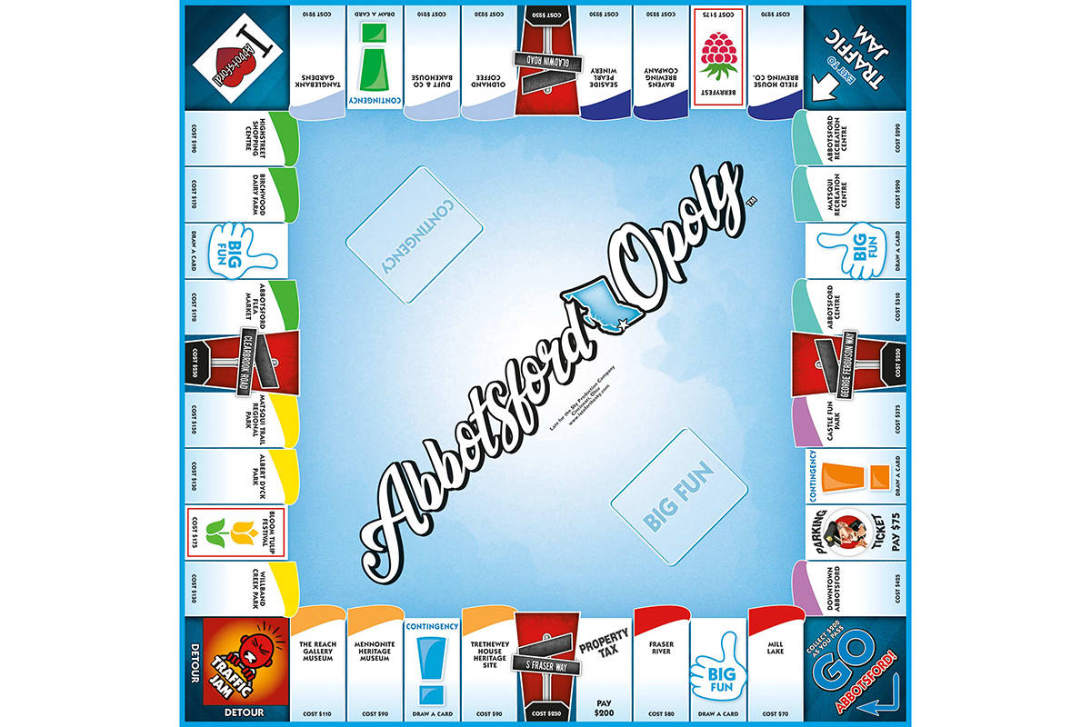 The Abbotsford-Opoly board features many local attractions, landmarks and streets.