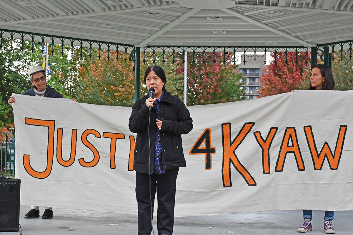 Yin Yin Din, sister of Kyaw Din who was shot by police, speaks at a rally in Maple Ridge in October. (Neil Corbett/THE NEWS)