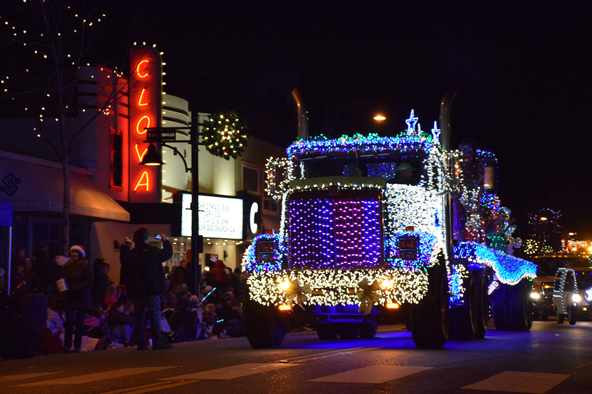 The 13th-annual Surrey Santa Parade of Lights rolled through downtown Cloverdale in this photo from 2018. This year's parade takes place Dec. 1, beginning at 5 p.m. (Black Press File Photo)