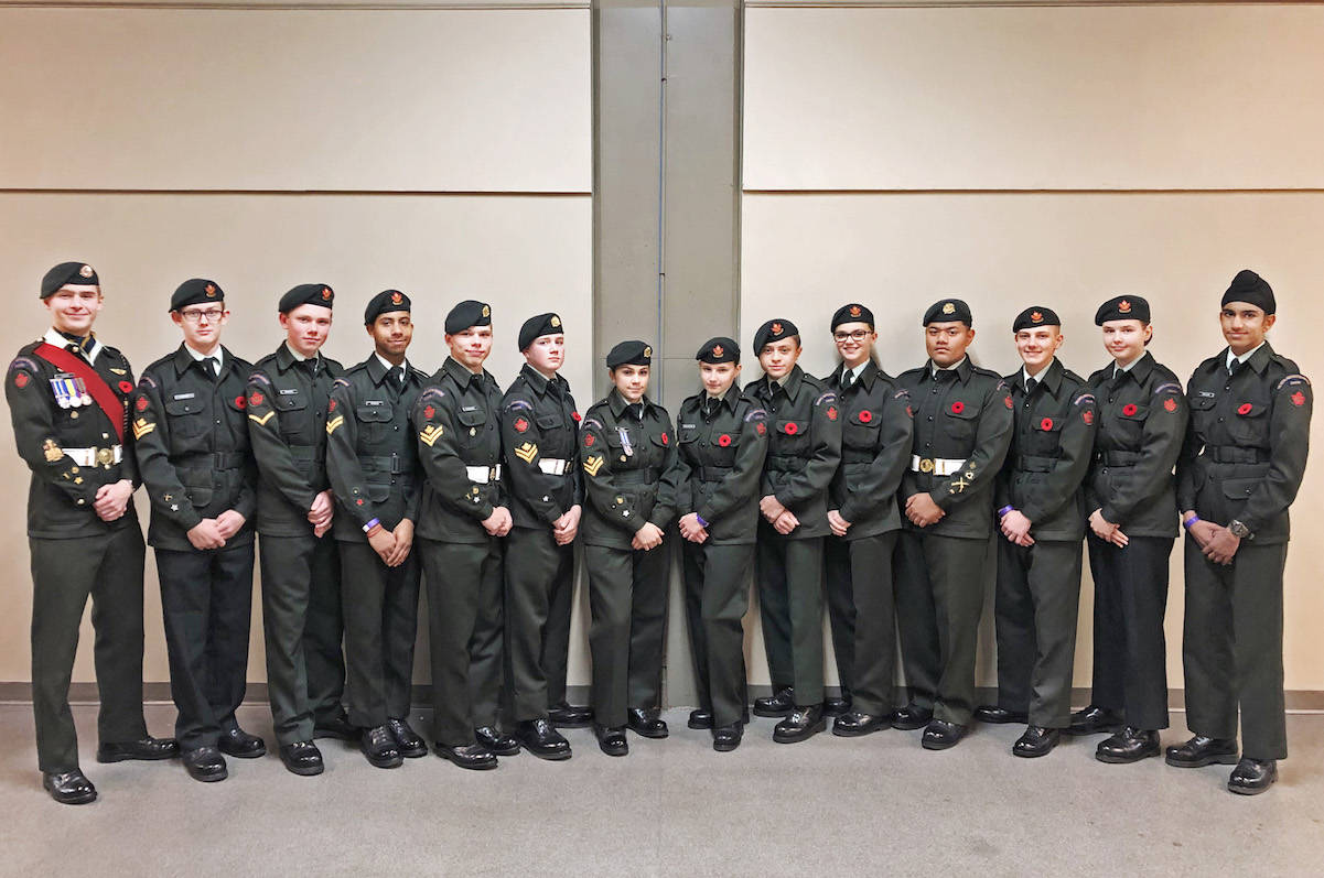 A total of 14 1922 RCACC cadets marched at the BC Lions salute to veterans and military valour at BC Place on Nov. 2. (Jennifer Ross/Special to the Aldergrove Star)