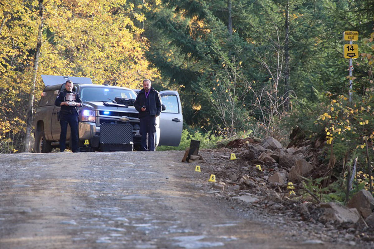 Two people were killed and one seriously injured when a vehicle plunged into Harrison Lake. The vehicle was found on Sunday, Nov.3, 2019. (Shane MacKichan)                                Two people were killed and one seriously injured when a vehicle plunged into Harrison Lake. The vehicle was found on Sunday, Nov.3, 2019. (Shane MacKichan)