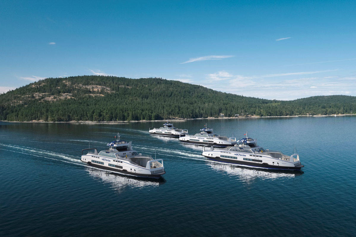 A rendering of the four hybrid-electric Island Class vessels that will join the BC Ferries fleet in 2022. (Courtesy of BC Ferries)
