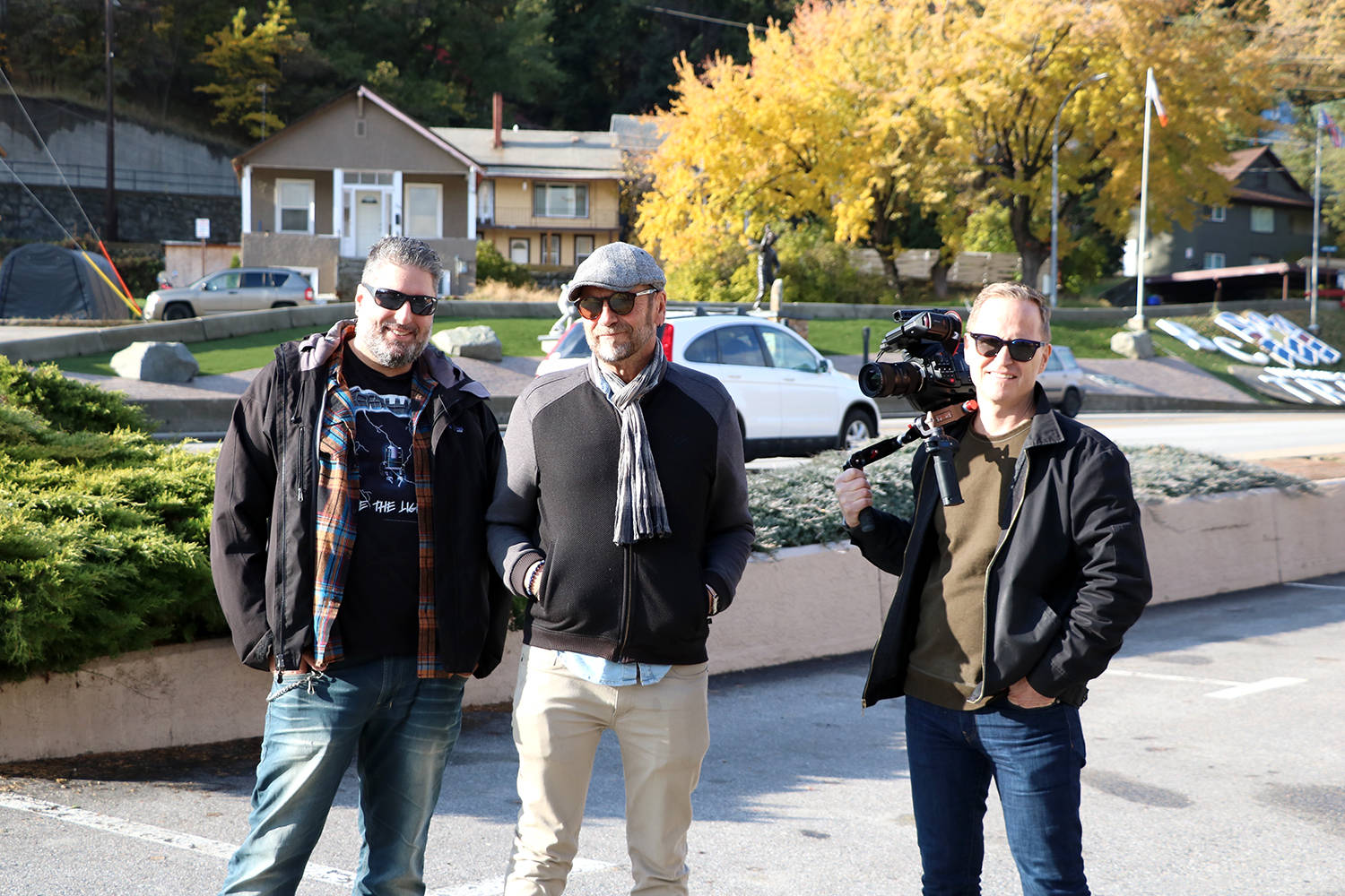 """""""Trophy Town"""" filmmakers were in Trail filming a documentary on the '39 and '61 Trail Smoke Eaters. From left writer/producer Dave Alexander, director/producer/cameraman Robert Barrett, and cinematographer/cameraman David Cain."""