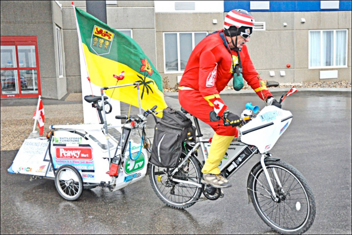 Danny Halmo on his ebike during his most recent attempt to break a world record. (Photo courtesy of Danny Halmo)