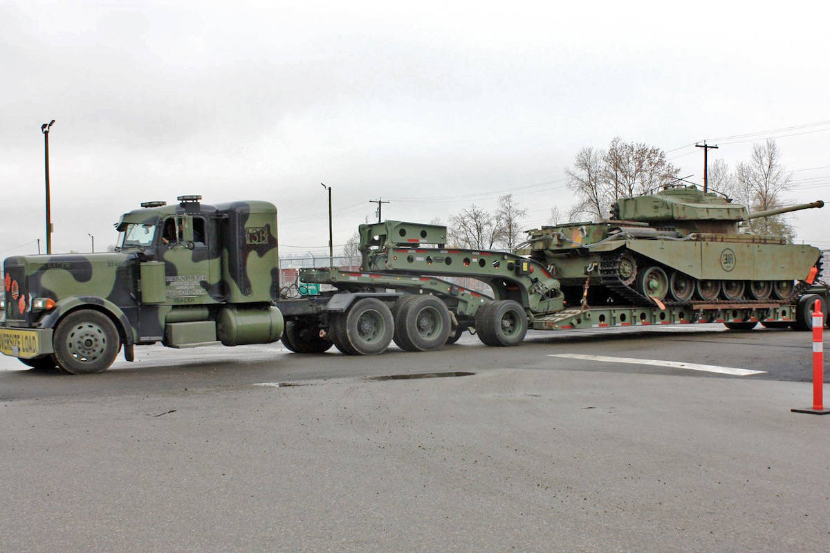 The tank was loaded onto a CN Rail car in Dartmouth, N.S. on Oct. 30 and arrived in Surrey, B.C. on the morning of Nov. 10 – the day before Remembrance Day.