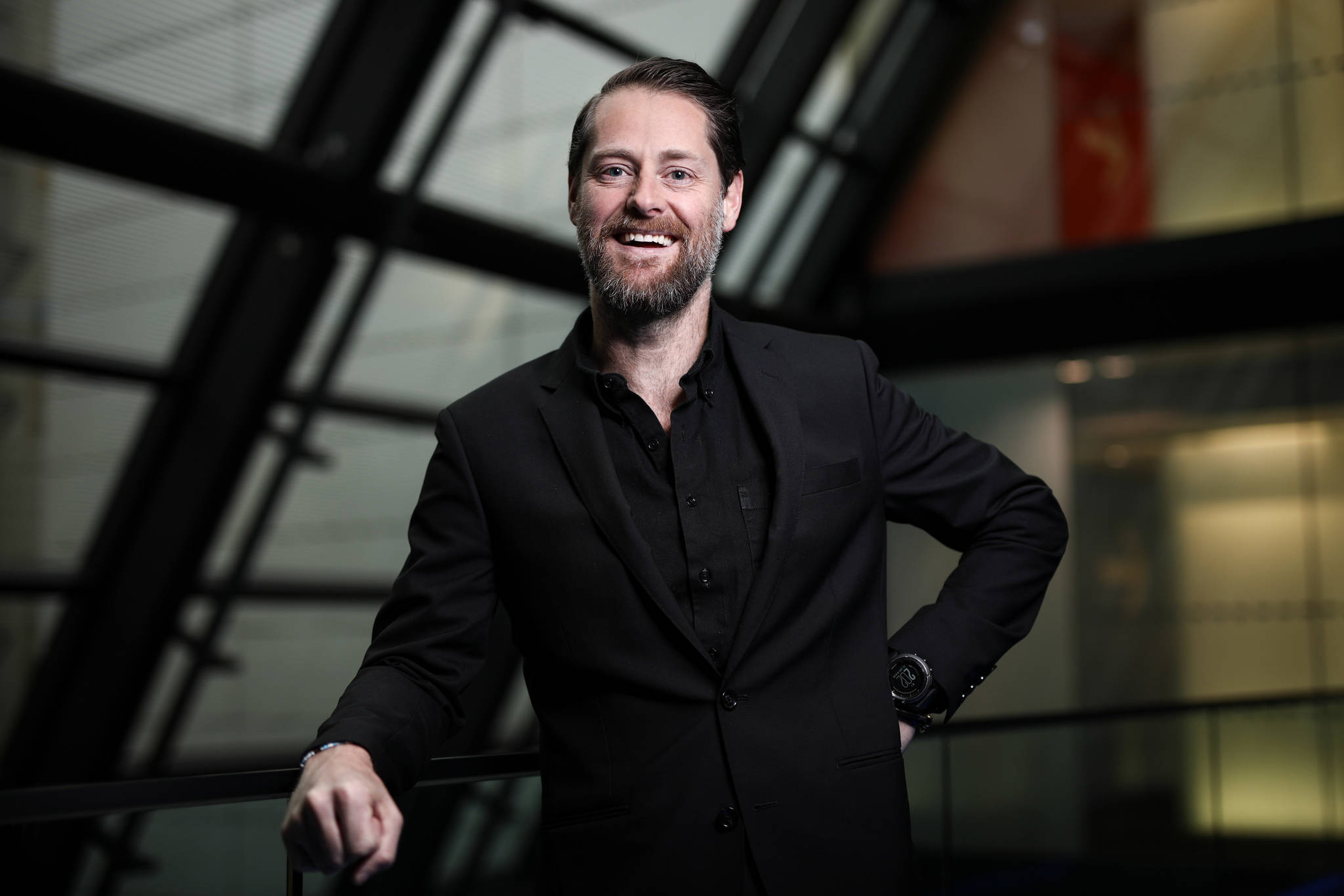 Ryan Holmes, chief executive officer of Hootsuite Media Inc., poses for a photograph following a Bloomberg Television interview in London, U.K., in 2017. U.S. President-elect Donald Trump is making social media very relevant, Holmes said during the interview. Photographer: Simon Dawson/Bloomberg