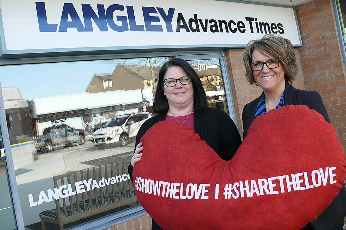 Langley Advance Times sales manager Shaulene Burkett and publisher Lisa Farquharson are excited to be part of the #ShowTheLove | #ShareTheLove celebration this month.(Dan Ferguson/Langley Advance Times)