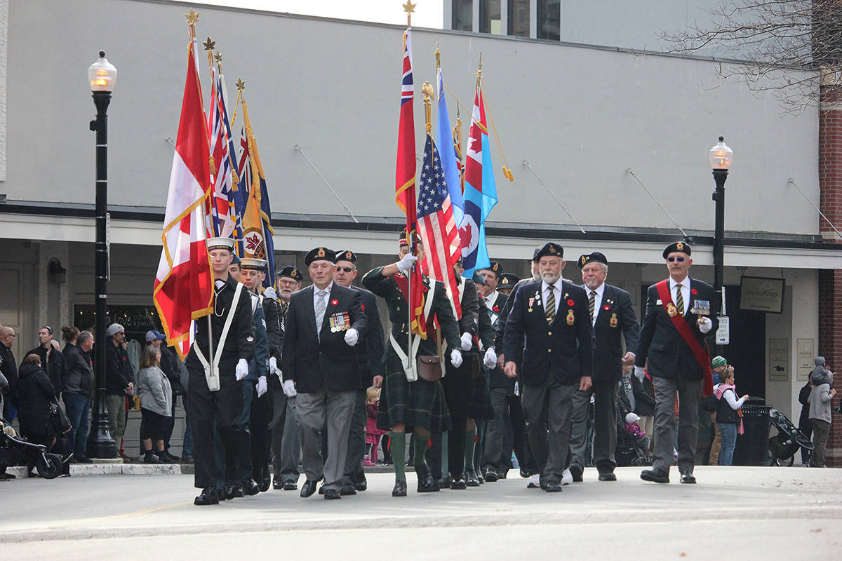 FILE –Remembrance Day parade makes its way to the Dallas Square cenotaph downtown in Nanaimo.