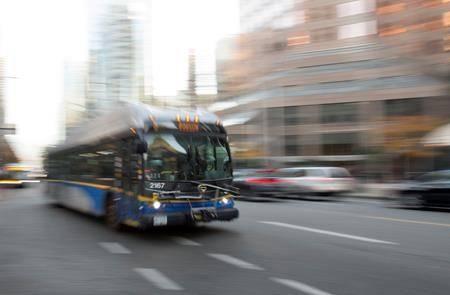 A bus in downtown Vancouver, Friday, November, 1, 2019. THE CANADIAN PRESS/Jonathan Hayward