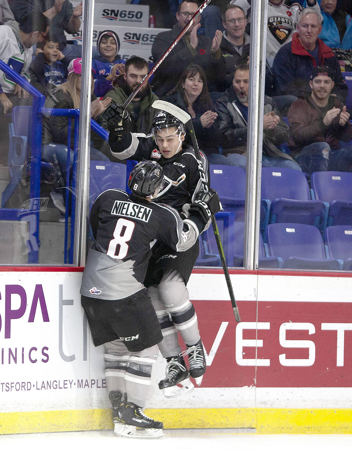 Vancouver Giants defeated the Winterhawks, 3-1, on home ice in Langley Friday night, now head to Portland for a rematch tonight (Saturday). Lucas Svejkovsky, Tanner Brown, and Evan Patrician scored a goal apiece while Trent Miner made 26 saves. (Chris Relke/Vancouver Giants)