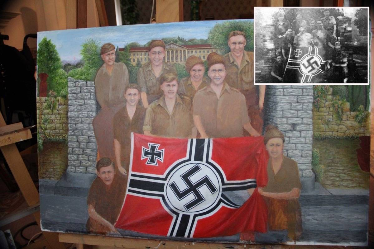 Reginald Wise will send this painting to No. 40 Commando headquarters in Devon, England, when it's completed. It is based on the photo (inset) from 1944. Wise is in the centre. (Photo: Malin Jordan)