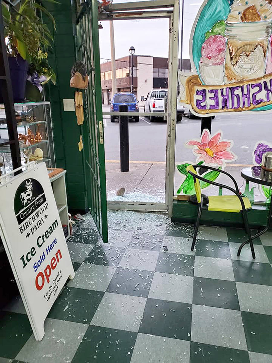 Whoever broke in to Brogan's used a rock to smash in the glass door of the deli. (Facebook image)
