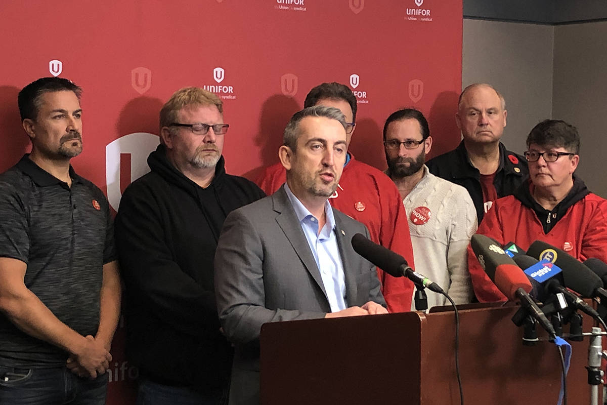 Gavin McGarrigle, the western regional director of Unifor, calls for the Coast Mountain Bus Company to up wages and improve break time for bus operators and maintenance workers. (Katya Slepian/Black Press Media)