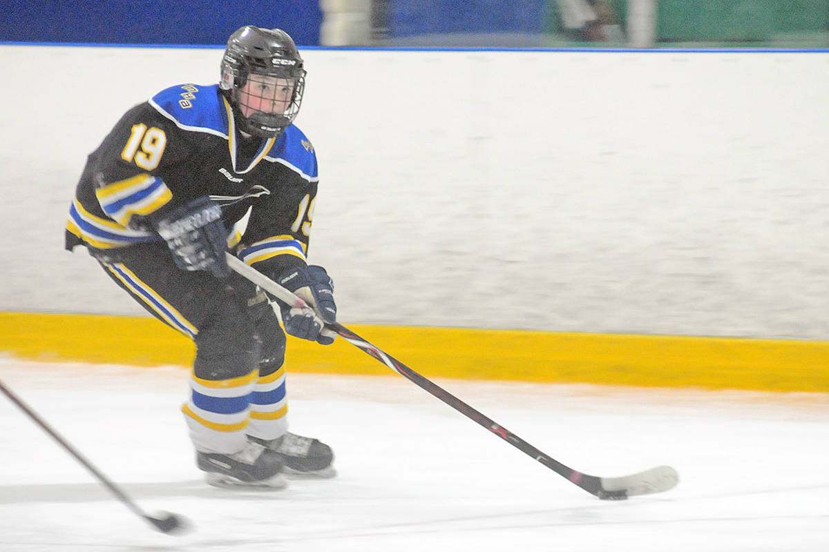 Langley Peewee A2 Eagles No. 19 Landon Pue was named a 1st Team All-Star at the Gil Martin Memorial Hockey Tournament at the Langley Sportsplex on Sunday. The team made it to the semi-finals but couldn't get past eventual champion Coquitlam Chiefs. (Dan Ferguson/Langley Advance Times)