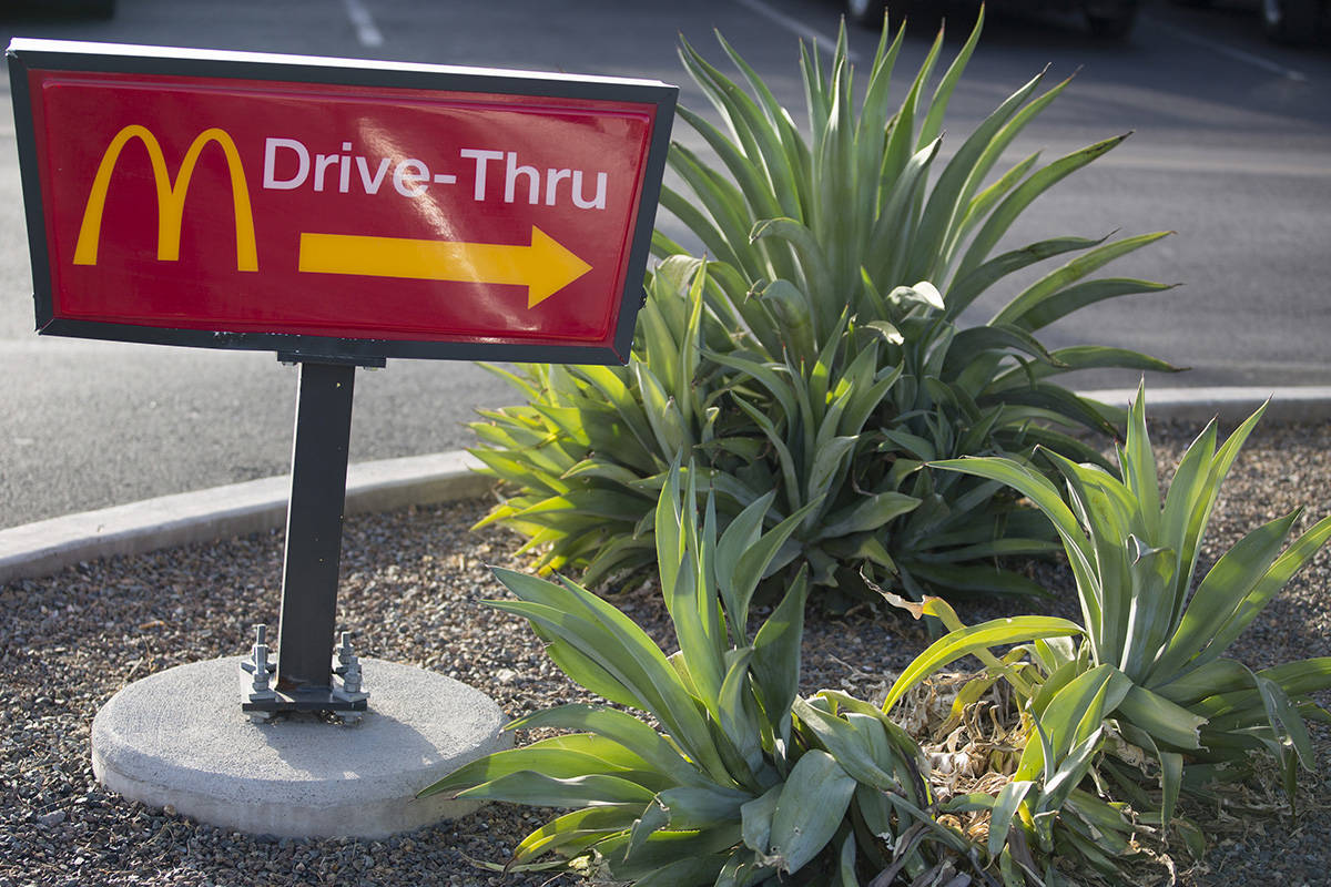 "A ""Drive-Thru"" sign stands outside a McDonald's restaurant in Phoenix on Oct. 21, 2017. MUST CREDIT: Bloomberg photo by Caitlin O'Hara."