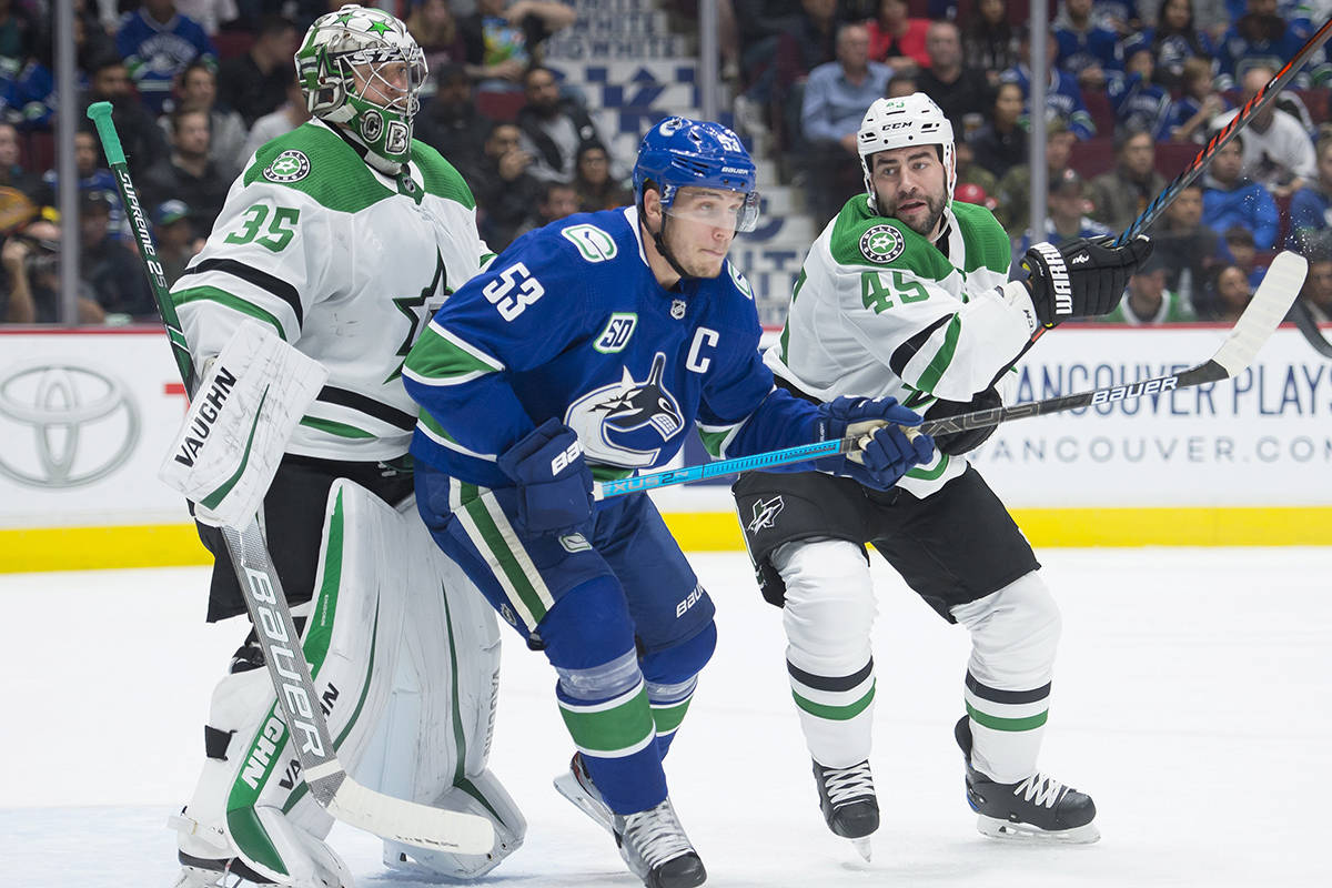 Dallas Stars defenceman Roman Polak (45) tries to clear Vancouver Canucks centre Bo Horvat (53) from in front of Dallas Stars goaltender Anton Khudobin (35) during first period NHL action in Vancouver, Thursday, November, 14, 2019. THE CANADIAN PRESS/Jonathan Hayward
