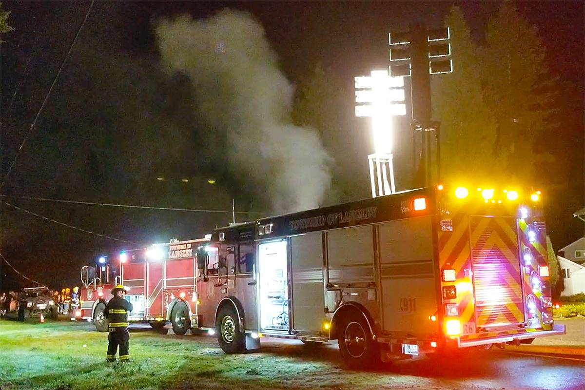 VIDEO: Multiple fire department units called to Brookswood house fire