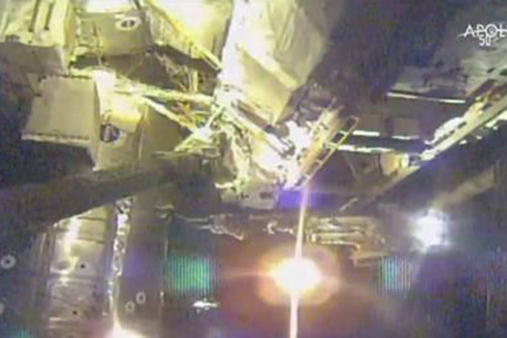 This photo provided by NASA shows talian astronaut Luca Parmitano and U.S. astronaut Andrew Morgan perform maintenance on the International Space Station during a space walk on Friday, Nov. 15, 2019. The astronauts ventured out with dozens of tools and four new pumps for the Alpha Magnetic Spectrometer. NASA considers these spacewalks the most difficult since the Hubble Space Telescope repairs a few decades ago. (NASA via AP)