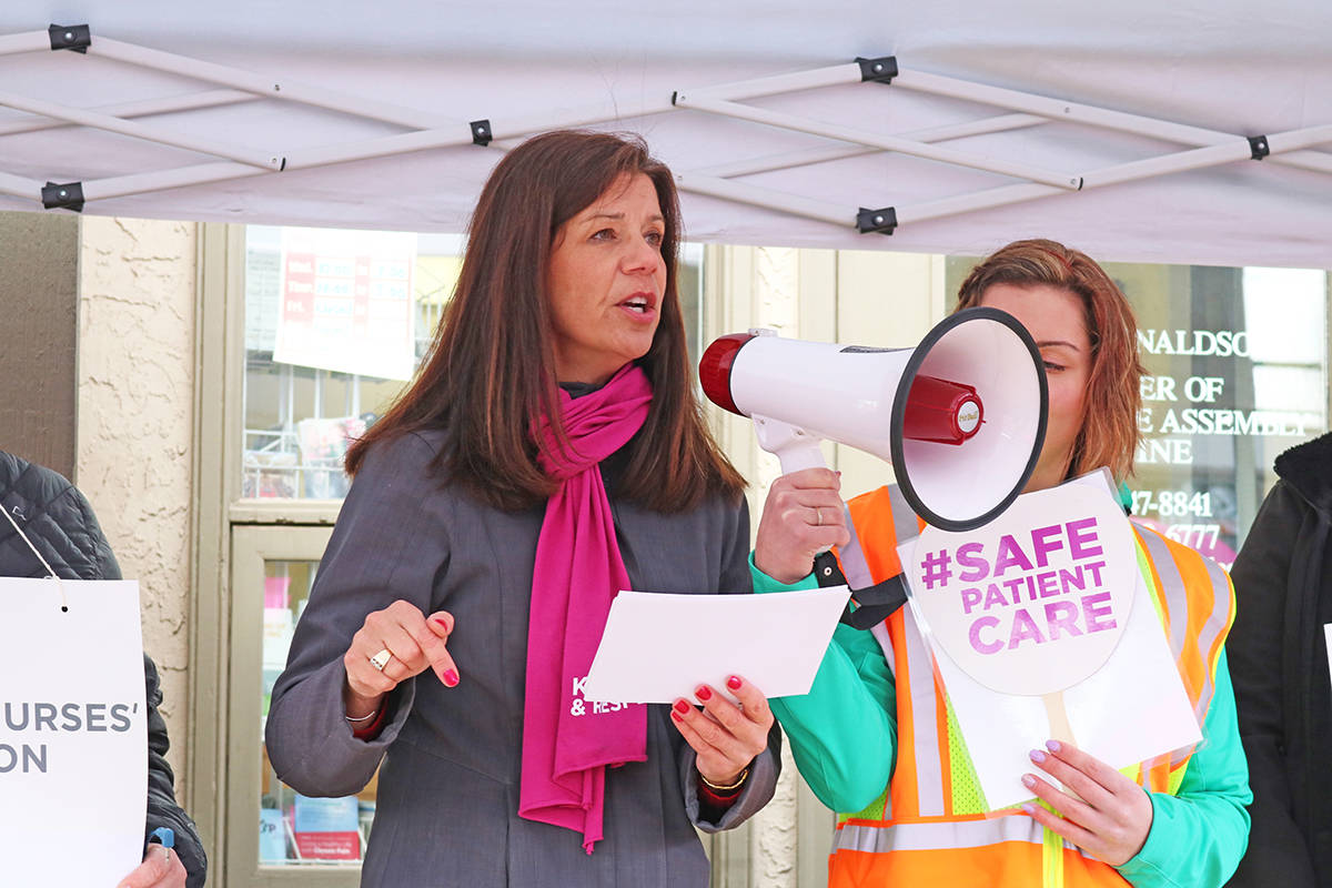 Christine Sorensen, president of the BC Nurses' Union addresses a crowd. (Black Press files)