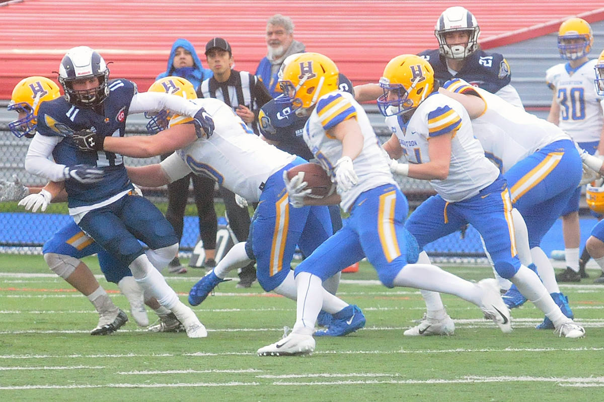 Saskatoon Hilltops are CJFL Canadian Bowl champions for the sixth straight time, following their 11-6 win over the Langley Rams Saturday at McLeod Athletic Park (MAP) stadium. (Dan Ferguson/Langley Advance Times)