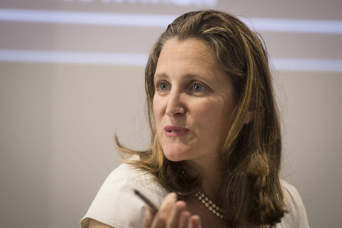 Chrystia Freeland speaks during an election event as part of the Canadian Muslim Townhall series at the University of Toronto on Sunday, September 22, 2019. Whether or not Prime Minister Justin Trudeau shuffles her to a new cabinet post on Wednesday, Freeland's imprint on Canada's foreign policy will remain visible for some time to come, analysts suggest. THE CANADIAN PRESS/ Tijana Martin