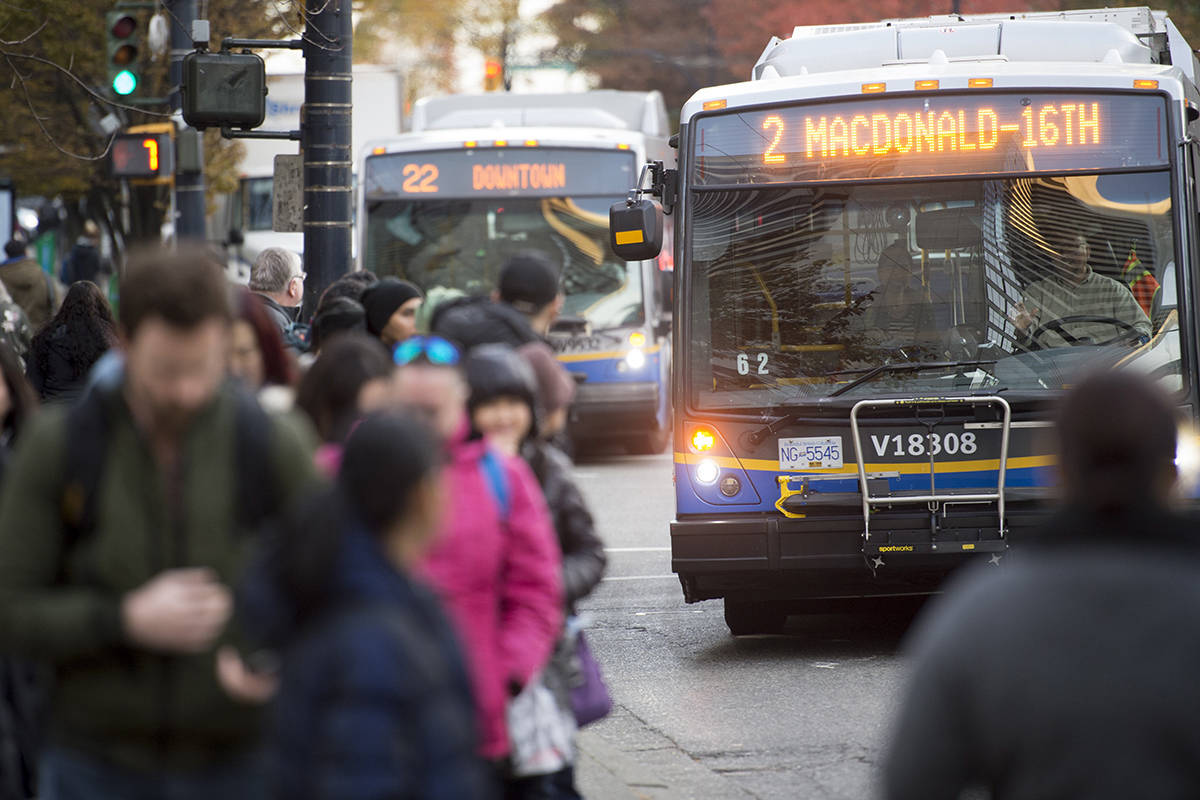A bus is pictured in downtown Vancouver, Friday, November, 1, 2019. A transit strike remains in the air as talks between Vancouver bus drivers and their employee break down. THE CANADIAN PRESS/Jonathan Hayward