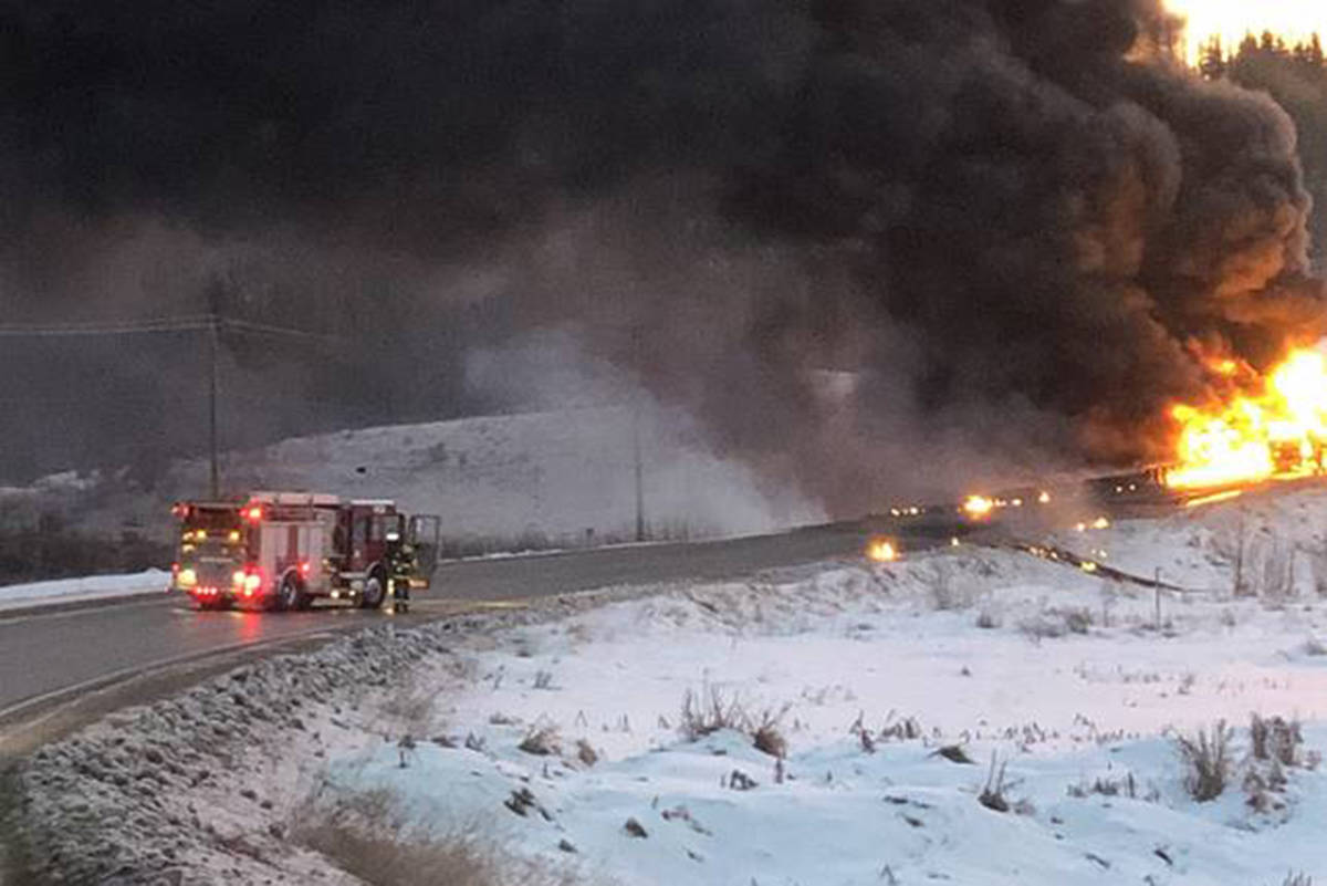 A tanker truck caught on fire in B.C.'s Peace region Saturday, Nov. 16, 2019. (Government of B.C.)