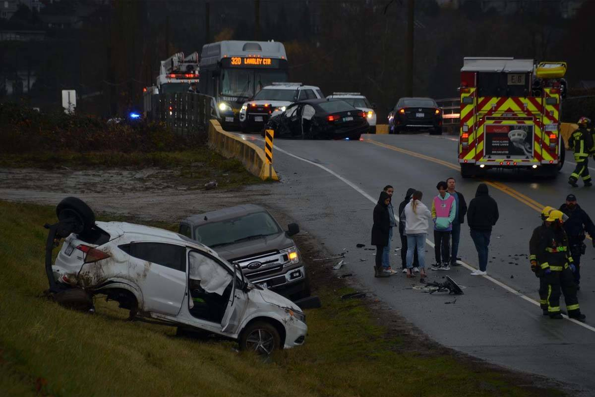 Two people were reportedly sent to hospital after a vehicle collision in Surrey Sunday morning. (Curtis Kreklau photos)