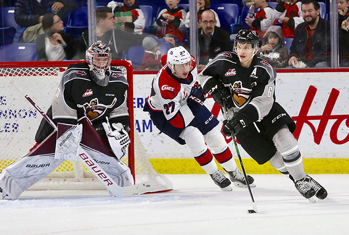 For the first time in a span of six November games, the Vancouver Giants (11-9-1-1) fell in regulation. Sunday night at the LEC the Giants dropped a 6-0 decision to the Lethbridge Hurricanes (14-6-0-3). Six different Hurricanes found the back of the net while goaltender Carl Tetachuk made 17 saves to secure the shutout. Trent Miner made 34 saves in response for the Giants. (Rik Fedyck/Vancouver Giants)