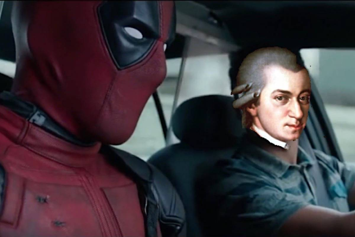 Movie character Deadpool rides in a taxi driven by composer Wolfgang Amadeus Mozart in driver advocate Chris Thompson's latest video. Mozart's face was added to illustrate that if all he did was drive a car, he might still be alive today based on the declining risk. (SenseBC)
