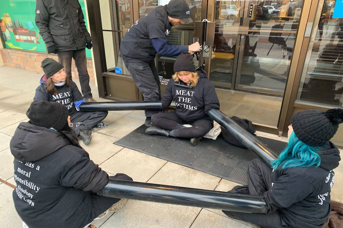 A group of environmental and animal rights activists chained themselves to the doors of Interior Savings Credit Union on Monday morning. (Dan Taylor - Kelowna Capital News)