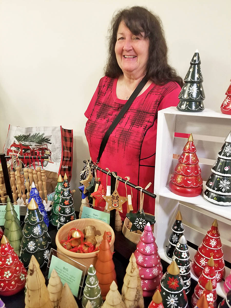 Pam Erikson was one of several vendors taking party in the Thinking Generously craft fair and fundraiser, on Sunday, Nov. 17 at the Fort Langley community hall. (Dan Ferguson/Langley Advance Times)