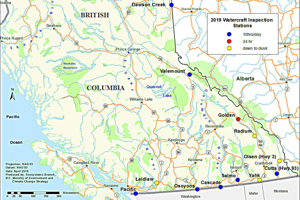Watercraft Inspection Stations can be found along the southern and eastern borders of B.C. (B.C. Government image)
