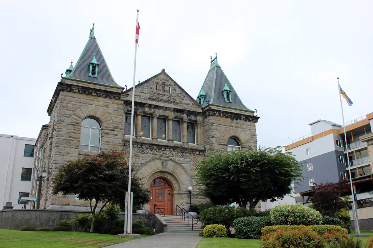 Nanaimo Courthouse, where B.C. Supreme Court is hearing the case of a Port Alberni mother who says her daughter's religious freedoms were infringed on when she was forced to participate in an indigenous smudging ceremony. (NEWS BULLETIN file photo)